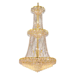Elegant Lighting Eca1G36G/Ss Swarovski Elements Clear Crystal Belenus 32-Light, Two-Tier Crystal Chandelier, Finished In Gold With Clear Crystals