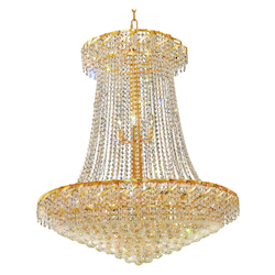Elegant Lighting Eca1G36Sg/Ss Swarovski Elements Clear Crystal Belenus 22-Light, Two-Tier Crystal Chandelier, Finished In Gold With Clear Crystals