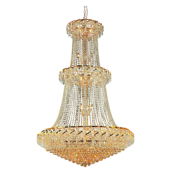 Elegant Lighting Eca1G42G/Ss Swarovski Elements Clear Crystal Belenus 32-Light, Three-Tier Crystal Chandelier, Finished In Gold With Clear Crystals