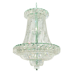 Elegant Lighting Eca2G36Sc/Sa Swarovski Spectra Clear Crystal Belenus 22-Light, Two-Tier Crystal Chandelier, Finished In Chrome With Clear Crystals