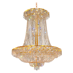 Elegant Lighting Eca2G36Sg/Sa Swarovski Spectra Clear Crystal Belenus 22-Light, Two-Tier Crystal Chandelier, Finished In Gold With Clear Crystals