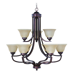 Up Chandeliers with Amber Frosted Glass Shades, Metropolitan Bronze - 202235