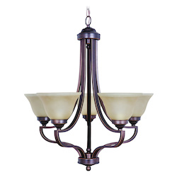 Up Chandeliers with Amber Frosted Glass Shades, Metropolitan Bronze - 202334