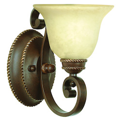 Aged Bronze Riata 1 Light Bathroom Wall Sconce - 12 Inches Wide