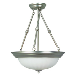 Brushed Nickel 3 Light Bowl Shaped Pendant - 15 Inches Wide
