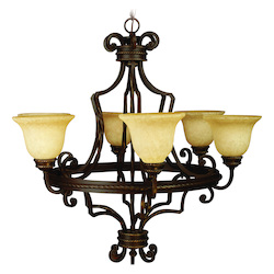 Aged Bronze Riata Single Tier 6 Light Candle Style Chandelier - 34.5 Inches Wide