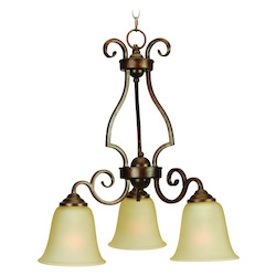 Three Light Amber Frost Glass Peruvian Down Chandelier
