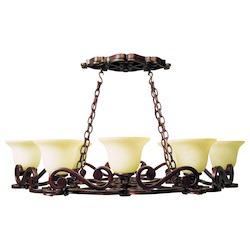 Peruvian Eight Light Up Lighting Chandelier from the Scroll Collection