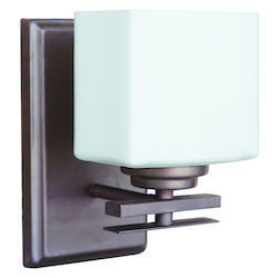 One Light Oiled Bronze Finish Bathroom Sconce - 202546