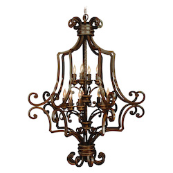 Aged Bronze Riata Two Tier 12 Light Cage Chandelier - 32.75 Inches Wide
