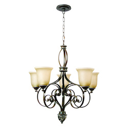 Five Light Aged Bronze/Vintage Madera Tea-Stained Glass Up Chandelier