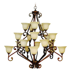 Peruvian Scroll Three Tier 20 Light Rustic Chandelier - 52 Inches Wide