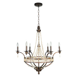 Up Chandelier with Antiqued Crystal Trim Shades Peruvian Bronze - 202806