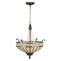 Up-Pendant with Antiqued Crystal Trim Shades, Peruvian Bronze Finish - 202816