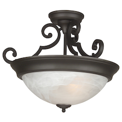 Three Light Oiled Bronze Bowl Semi-Flush Mount - 202916