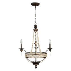Up Chandeliers with Antiqued Crystal Trim Shades, Peruvian Bronze - 202979