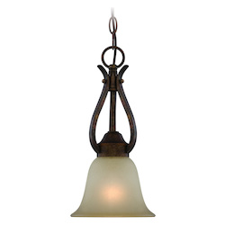One Light Burleson Bronze Light Teastain Glass Down Mini Pendant - 206578