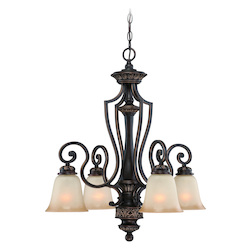 Four Light Aged Bronze W/gold Light Teastain Glass Down Chandelier - 206819