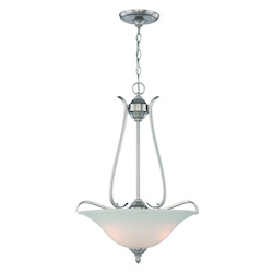 Jeremiah Three Light Brushed Nickel Frost White Glass Up Pendant - 29043-BNK