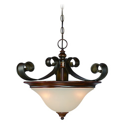 Jeremiah Three Light Spanish Bronze Opal Glass Up Pendant - 28053-SPZ