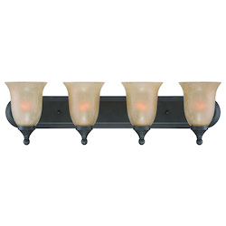Open Box Four Light Oil Rubbed Bronze Tea Stained Glass Vanity