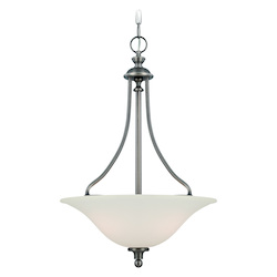 Jeremiah Three Light Antique Nickel Creamy Frost Glass Up Pendant - 28543-AN