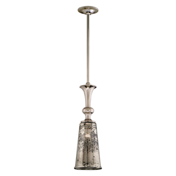 Polished Nickel Cast Aluminum Single Light Pendant from the Argento Collection