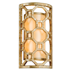 Stained Silver Leaf Regatta 2 Light Wall Sconce with Hand Crafted Iron Frame and Smoked Capiz Shell Mosaic Plating