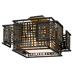 Bonsai Bronze Shoji 2 Light Semi-Flush Ceiling Fixture with Hand Crafted Iron Frame and Handmade Japanese Paper Accents