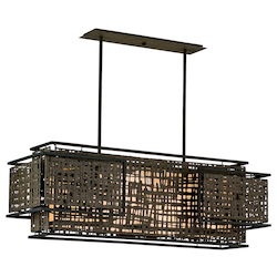 Bonsai Bronze Shoji 4 Light Linear Chandelier with Hand Crafted Iron Frame and Handmade Japanese Paper Accents