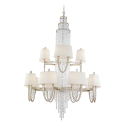 Antique Silver Leaf Two Tier 24 Light Large Chandelier From The Viceroy Collection