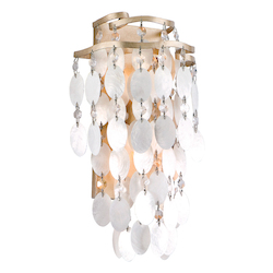 Champagne Leaf Dolce 2 Light Wall Sconce with Hand Crafted Iron Frame and Authentic Capiz Shell Accents