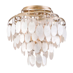 Champagne Leaf Dolce 3 Light Semi-Flush Ceiling Fixture with Hand Crafted Iron Frame and Authentic Capiz Shell Accents