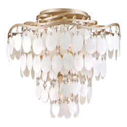 Champagne Leaf Dolce 4 Light Semi-Flush Ceiling Fixture with Hand Crafted Iron Frame and Authentic Capiz Shell Accents