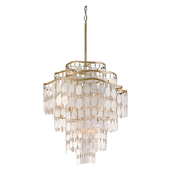 Champagne Leaf Dolce 12 Light Pendant with Hand Crafted Iron Frame and Authentic Capiz Shell Accents