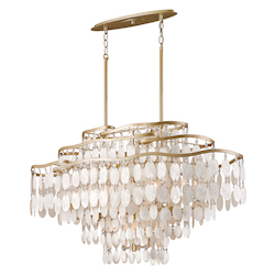Champagne Leaf Dolce 12 Light Linear Chandelier with Hand Crafted Iron Frame and Authentic Capiz Shell Accents