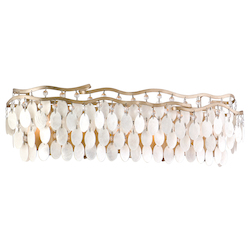 Champagne Leaf Dolce 5 Light Bathroom Vanity Light with Hand Crafted Iron Frame and Authentic Capiz Shell Accents