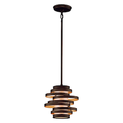 Bronze with Gold Leaf Vertigo 1 Light Modern Pendant with Hand Crafted Iron Frame and Caramel Ice Diffuser