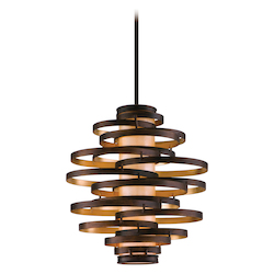 Bronze with Gold Leaf Vertigo 3 Light Modern Pendant with Hand Crafted Iron Frame and Caramel Ice Diffuser