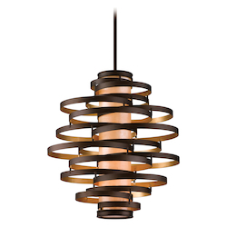 Bronze / Gold Leaf Vertigo 4 Light Modern Pendant with Hand Crafted Iron Frame and Caramel Ice Diffuser