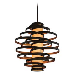 Bronze with Gold Leaf Vertigo 6 Light Modern Pendant with Hand Crafted Iron Frame and Caramel Ice Diffuser