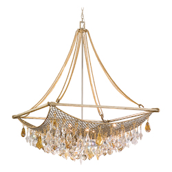 Silver And Gold Leaf Eight Light Large Pendant From The Barcelona Collection