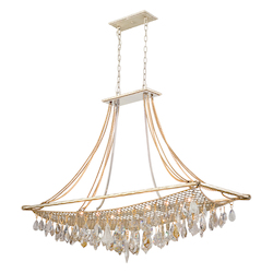 Silver And Gold Leaf Twelve Light Island / Billiard Fixture From The Barcelona Collection