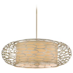 Modern Silver Ten Light Hanging Pendant From The Cesto Collection