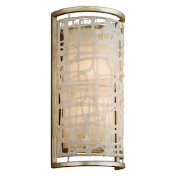 Silver Leaf Kyoto 2 Light Wall Sconce with Hand Crafted Iron Frame and Handmade Japanese Paper Accents