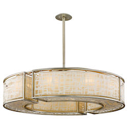 Silver Leaf Kyoto 10 Light Drum Chandelier with Hand Crafted Iron Frame and Handmade Japanese Paper Accents