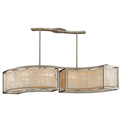 Silver Leaf Kyoto 6 Light Linear Chandelier with Hand Crafted Iron Frame and Handmade Japanese Paper Accents