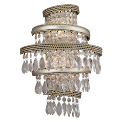 Silver Leaf with Gold Leaf 2 Light Hand Crafted Iron Wall Sconce with Twisted, Faceted Crystal Drops from the Diva Collection
