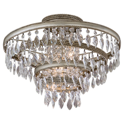 Silver Leaf with Gold Leaf 3 Light Hand Crafted Iron Semi Flush Ceiling Fixture with Twisted, Faceted Crystal Drops from the Diva Collection