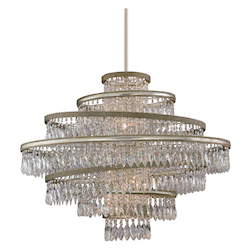 Silver Leaf with Gold Leaf 7 Light Hand Crafted Iron Foyer Pendant with Twisted, Faceted Crystal Drops from the Diva Collection